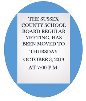 Regular SB Meeting moved to Thursday, October 3, 2019 @ 7PM
