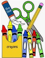 School Supplies Picture - Crayons, pencil, scissors, glue
